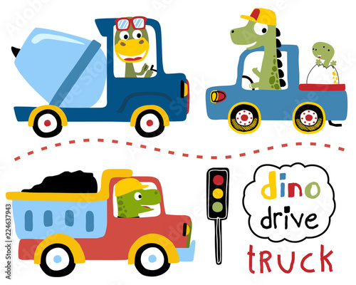 Spoed Foto op Canvas Cartoon cars Vector set of driving trucks with dinos cartoon