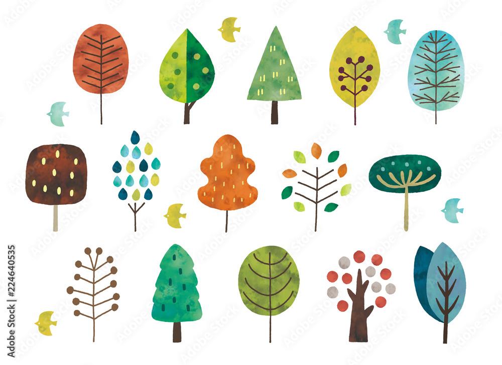 Fototapeta 北欧風の木水彩