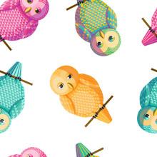 Seamless Vector Owl Pattern