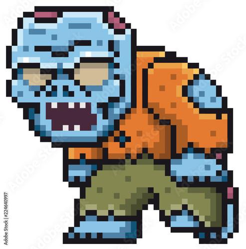 Foto op Aluminium Pixel Vector illustration of Cartoon Zombie - Pixel design