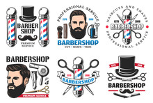Barber Shop Signs Icons Hipster And Cutting Tools