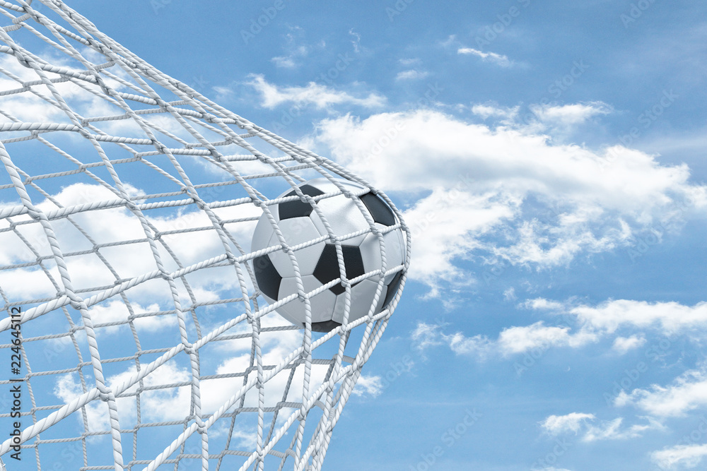 3d rendering of a football ball caught in a white net from the gates on a sky background.