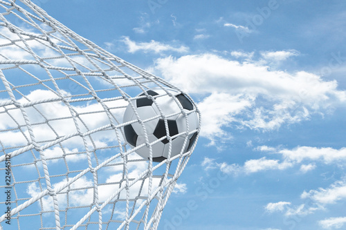 Fototapety, obrazy: 3d rendering of a football ball caught in a white net from the gates on a sky background.