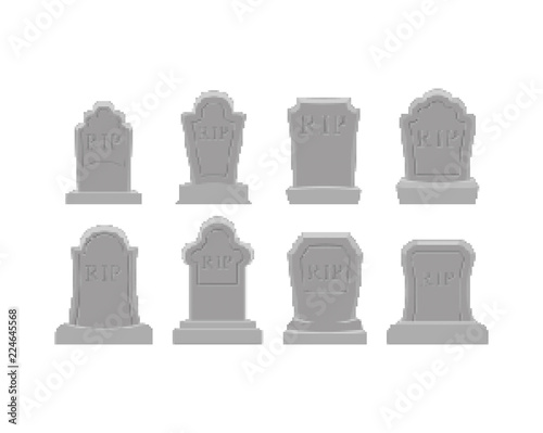 Grave pixel art set Fototapete