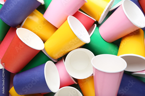Colorful paper cups background