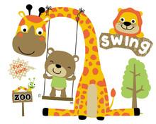 Vector Set Of Funny Animals Ca...