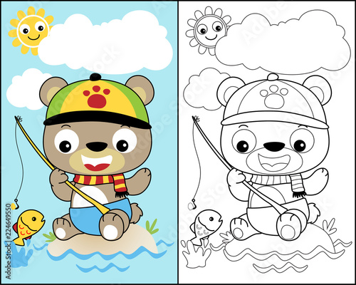 Canvas Print coloring book or page with little bear cartoon vector