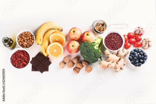 Food sources of natural antioxidants Canvas Print