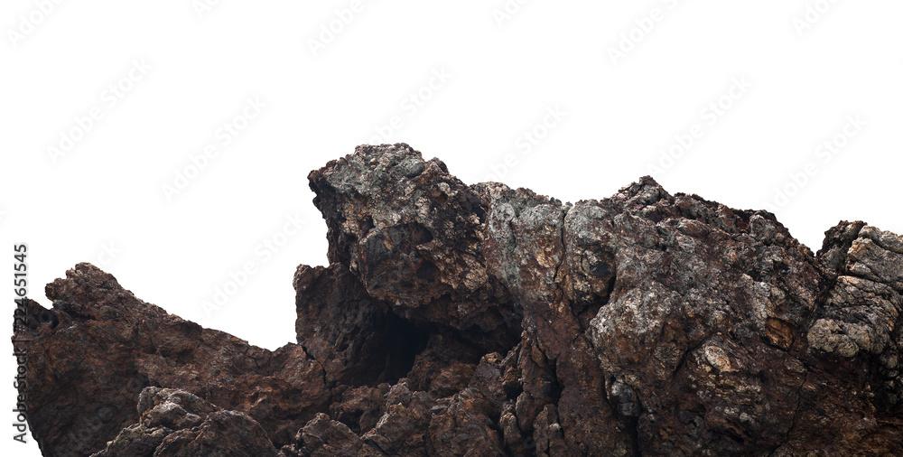 Fototapeta cliffs rock on the mountain by the sea on white background