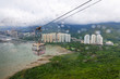 ngong ping cable car and the tower building with mountain background aerial view