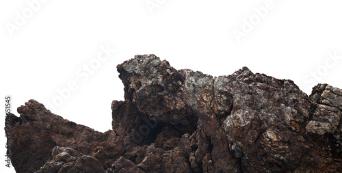 cliffs rock on the mountain by the sea on white background