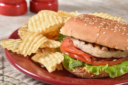 Salmon burger close up