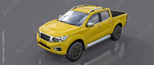 Türaufkleber Schnelle Autos Yellow commercial vehicle delivery truck with a double cab. Machine without insignia with a clean empty body to accommodate your logos and labels. 3d rendering.