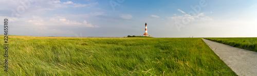 Leinwand Poster Nordfriesland - Radweg zum Leuchtturm Westheversand