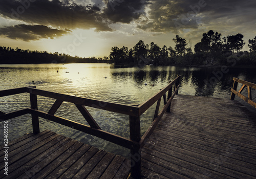 Pier with wooden railing and trees in the background illuminated by the sunset sun