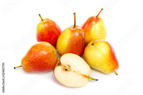 Fotografía  ripe red yellow pear fruits isolated on white background