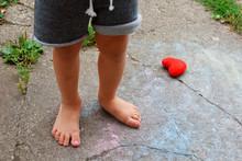 Little Boy Bare Feet Legs Outd...