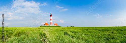 Foto auf Gartenposter Leuchtturm Typisches Norfriesland - Leuchtturm Westhever Sand, Banner