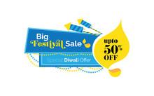 Big Diwali Sale, Offer Banner Design, Tag, Sticker With 50% Discount - Diwali Festival Offer Banner, Sticker, Label Design Template