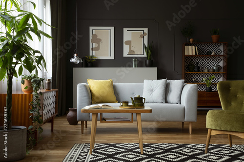 Real photo of a vintage living room interior with a coffee table, sofa, plant an Canvas Print