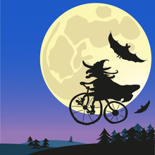 Old Witch Flying On A Bicycle In The Moonlight With Bats. Super Moon. Halloween. Vector Illustration.