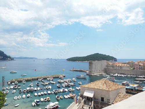 Fotobehang Antarctica Panoramic view of Dubrovnik old town, its marina port and Lokrum island