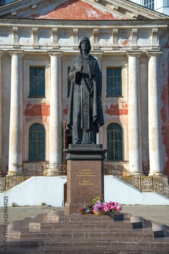 Fotobehang Monument Kashin, Tver Region, Russia, September 20, 2018: Monument to Anna Kashinskaya in front of Ascension Cathedral