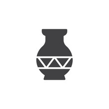 Ornamental Vase Vector Icon. F...