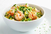 Mayonnaise Based Salad With Prawns, Avocado, Cucumber, And Egg Decorated With Parsley