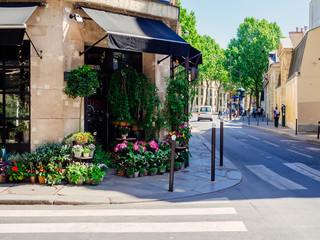Ugodna ulica s cvjećarnicom u Parizu, Francuska