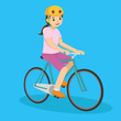 Happy young girl in pink riding a bicycle. Vector illustration
