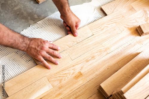 Obraz Assembly of patterned wood surface - fototapety do salonu