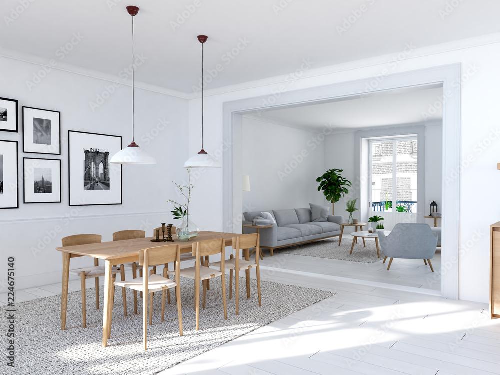 Fotografía  modern nordic dining room in loft apartment. 3D rendering
