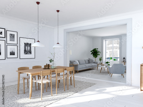 Fotografía  modern nordic dining room in loft apartment. 3D rendering