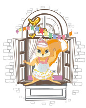 Squirrel In The Window Desorated With Birthday Colorful Flags. Series Of Vector Illustrations With Cute Funny Animals In Cartoon Style.