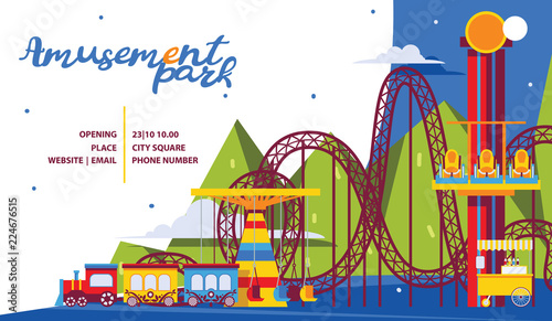 Photo Amusement park poster template