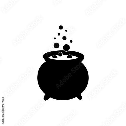 Cauldron with magic potion vector icon. Wall mural