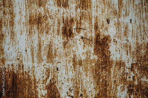 Old rusty iron texture, scratched paint on metallic surface, grunge sheet of rough metal, copy space