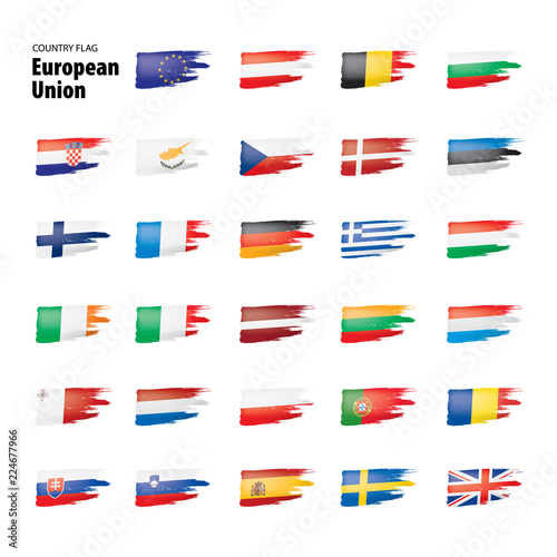 Fototapeta flags of the european union. Vector illustration. obraz na płótnie