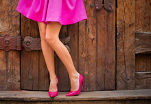 Woman Wearing Pink Skirt And H...