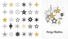 Collection Of Snowflakes, Star...