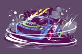 Power racing sport car drifting on race track