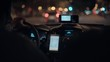 Taxi driver drives cab through night city streets or highway road, uses smartphone for navigation or uses shared economy phone app to find passengers or clients, taximeter counts fare