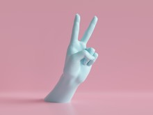 3d Render, Female Hands Isolated, Party Rock Gesture, Victory Sign, Shop Display, Minimal Fashion Background, Mannequin Body Part, Pink Blue Pastel Colors