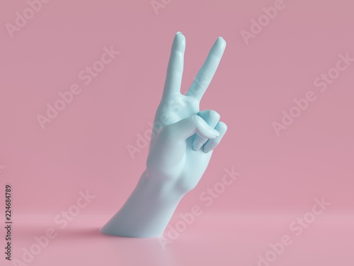 Photo 3d render, female hands isolated, party rock gesture, victory sign, shop display