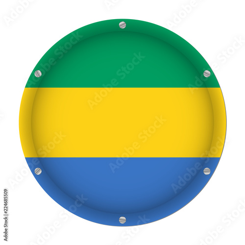 Fotografie, Obraz  round metallic flag of Gabon with screws