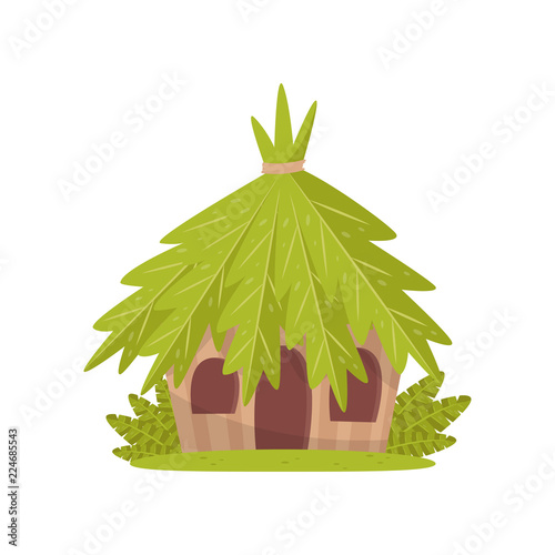 Obraz na plátně Small hut in tropical jungle vector Illustration on a white background