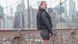 Manhattan View Young Girl On Brooklyn Bridge New York USA 4K