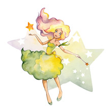 Hand  Drawn Watercolor Fairy With Star
