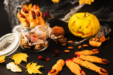 Cookies In The Form Of Witches Fingers, Food For Halloween.